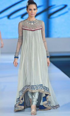 Pakistani & Indian Party Dresses Shop online in UK & USA Light Sea Green Embroidered Anarkali Frock Crinkle Chiffon Party Dress by PakRobe.com