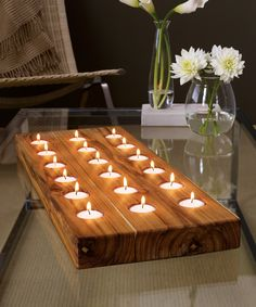 Modern Wood Tealight Display sets a mood for entertaining Wood Candle Holders, Candle Stand, Votive Candles, Chandeliers, Dot And Bo, Tea Light Holder, Home Projects, Tea Lights, Wood Crafts