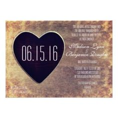 Rustic Country Wood Heart Wedding Invitations | Choose from rounded or square corners, from basic to premium paper |  40% OFF when you order 100+ invites.