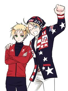 SOCHI 2014 by mikitaka on deviantART Aw it's England and America in their Parade of Nations outfits! ^^