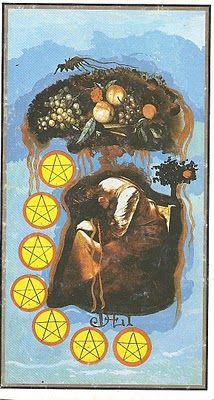 Seven of Coins - Dali Universal Tarot by Rachel Pollack , Juan Llarch, Salvador…