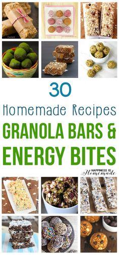 30 Homemade Granola Bars + Energy Bites Recipes - Happiness is Homemade