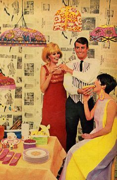 Paper Tiffany Lamps to eat hot dogs by. Look at the man's expression!!