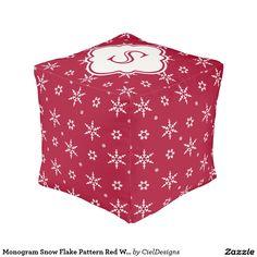 Monogram Snowflakes Pattern Red White Cube Pouf