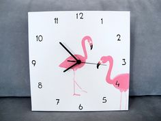 Items similar to Wall clock- black and white pink flamingo clock, square canvas, unique kitchen clock, wedding gift, hostess gift on Etsy Flamingo Craft, Flamingo Gifts, Flamingo Decor, Flamingo Party, Pink Flamingos, Wall Clock Black And White, Black White, Lego Room Decor, Pinterest Room Decor