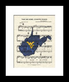 West Virginia University theme song, Take Me Home Country Roads by John Denver printed onto a reproduction of the first page of the songs sheet