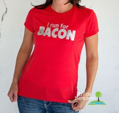 BACON T-shirt, Performance Short Sleeve Ladies' or Unisex Fit Shiny Foil T-Shirt, Create your Own