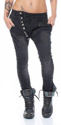 SKUTARI Luxus Lexxury Denim Stretch Röhren Biker Jeans Haremshose Boyfriend lange Knopfleiste langer Reissverschluss (Farbe Washed Black, Größe S)
