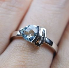 Blue Topaz sterling silver ring gemstone ring by JubileJewel, $50.00