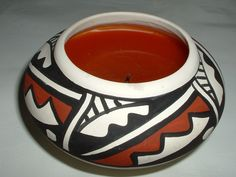 vintage native American Southwest pottery candle holder signed