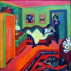 Fauvism - Ernst Ludwig Kirchner, Interieur mit zwei Mädchen (Interieur with Two Girls), 1926