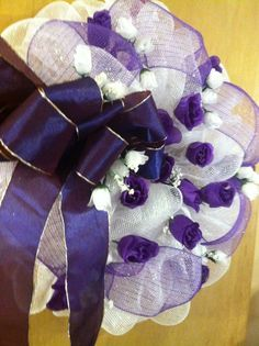 Deco Mesh Wreath White and Purple with Roses | eBay