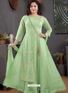 Green Georgette Readymade Heavy Designer Suit