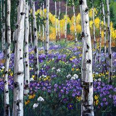 Mountain Meadow, 36x36 - Aspen Tree Birch Paintings - Birches Art Trees by Jennifer Vranes