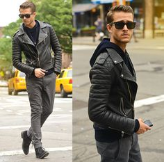 Jacket, All Saints Hoodie, All Saints Gray Chinos, Boots, Ray Ban Ray Ban Wayfarers