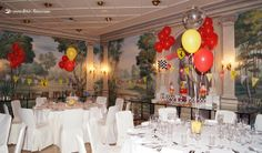 the view of all the dinning room for this Ferrari themed party