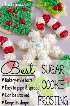 Best Christmas Cookie Frosting Recipe I've been perfecting my Christmas Sugar Cookies (cut outs) for years. This is the Christmas Cookie Frosting recipe I use to top them! Christmas Sugar Cookies, Holiday Cookies, Holiday Desserts, Holiday Baking, Holiday Recipes, Christmas Recipes, Frosting For Christmas Cookies, Sugar Cookie Buttercream Frosting, Grinch Cookies