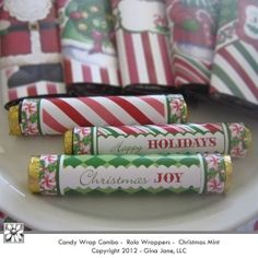 Printable Christmas Hershey Rolo's Wrappers.  Super cute candy cane stripes - Christmas Joy and Happy Holidays - Gina Jane Designs - DAISIE Company