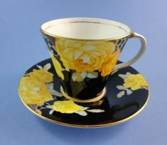 Art Deco Pretty Yellow Roses on Black Aynsley Demitasse Tea Cup and Saucer Set