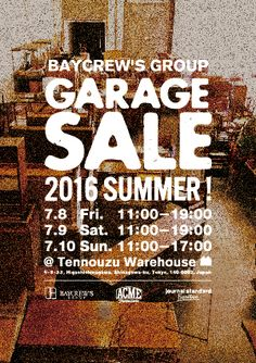 BAYCREW'S GROUP GARAGE SALE開催のお知らせ