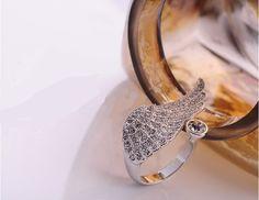 Gorgeous Rhinestone Embellished Wing Shape Design Ring For Women   NastyDress.com
