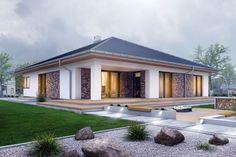 DOM.PL™ - Projekt domu ARC Pogodna z garażem dwustanowiskowym CE - DOM OG2-16 - gotowy koszt budowy