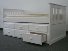 Amazon.com - Bedz King Captains Twin Bed with Twin Trundle and 3 Drawers in White - Trundle Bed And Bed Frame Sets