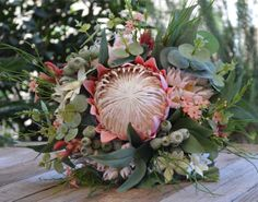 Silk Wedding Bouquet Pink Cream & Sage King Protea Gumnuts Wax Flower Blushing Bride Kangaroo Paw Dollar Gum Flannel Flower - Elanora