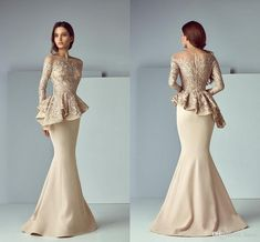 Champagne Lace Stain Mother Of The Bride Dress Peplum Formal Wear Mermaid Evening Dresses Long Sleeve Dubai Arabic Prom Gowns, Pink Formal Dresses, Trendy Dresses, Nice Dresses, Sexy Dresses, Formal Wear, Prom Dresses, Dress Prom, Dress Long, Formal Prom