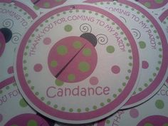 Pink and Green Ladybug Theme 3 Favor Tags set by PartyCelebrations, $5.50