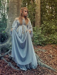 Elven Fairytale #Gown in grey-blue silk, gauze, chiffon, and golden embroidery.