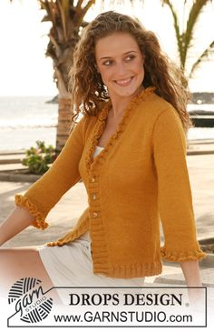 "DROPS jacket in stockinette st with flounce borders in ""Alpaca"". Size S - XXXL. ~ DROPS Design"