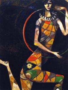 """Nel 1914 la maturità artistica di Marc Chagall si consolida con il perfezionamento della sua inconfondibile tecnica a olio. Tra le sue opere, ammiriamo una piccola tela che è destinata a segnare in modo indelebile il tocco della sua arte, """"L'acrobata""""."""