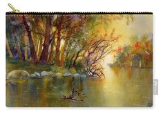 Autumn Landscape Carry-all Pouch featuring the painting River Rhine in Autumn by Sabina Von Arx Yellow Bathroom Decor, Yellow Bathrooms, Carry On, To Go, Pouch, Autumn, River, Art Prints, Landscape