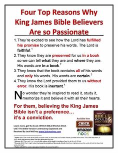 Four top reasons why King James Bible Believers are so passionate about the KJV. Four Tops, Bible Translations, King James Bible, Bible Truth, Christianity, Believe, Religion, Spirituality, Lord