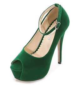 626f314d913 CAMSSOO Women s Peep Toe Heels Platform Ankle Strap Stiletto High Heels  Dress Shoes Green Velveteen Size