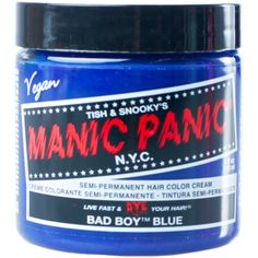 Manic Panic Bad Boy Blue High Voltage Hair Dye (£11) ❤ liked on Polyvore featuring beauty products, haircare, hair color, hair and makeup