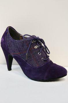 Killah Purple Tartan Suede Shoe Boots MILENA More Sizes