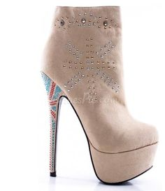 Fashionable Suede Rhinestone Decoration High Heel Boots
