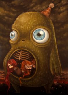 Ciccetto and friends, oil on canvas, by Ania Tomicka Psy Art, Goth Art, Lowbrow Art, Arte Pop, Creepy Cute, Pop Surrealism, Traditional Art, Dark Art, Amazing Art