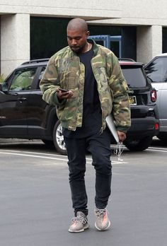 Kanye West At Calabasas Yeezy Headquarters Wears Raf Simons Jacket, Acne Jeans And Yeezy Boost Kanye West Outfits, Kanye West Style, Yeezy Fashion, Yeezy Outfit, Kardashian, Victorias Secret Models, Fashion Models, Runway Fashion, Street Fashion