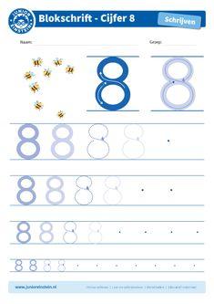Cijfer 8 - Dit werkblad biedt het cijfer 8 aan. Oefen eerst het cijfer een aantal keer op de eerste, grote cijfers. Oefen daarna de cijfers steeds kleiner. Tip: pak een aantal gekleurde potloden en schrijf het cijfer elke keer met een andere kleur! Je kunt gewoon over het vorige lijntje heen schrijven. Zo oefen je het cijfer meerdere keren en onthoud je het beter. Je kunt het blad ook vaker printen. Download ook de andere oefenbladen en maak een boekje van al je geschreven cijfers! Preschool Worksheets, Math Activities, Scandal Abc, Kids Learning, Montessori, Kindergarten, Homeschool, Ideas, Math Practices