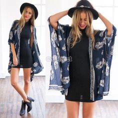 Summer Fashion Women Ladies Casual Print Kimono Cardigan Blouse Tops Beach Wear - $7.38