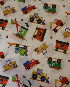 On the Job,Construction Vehicles,on White By the Yard, 44/45 inches wide by Blank Quilting, Lots of Different Construction Vehicles,Children https://www.etsy.com/shop/suesfabricnsupplies