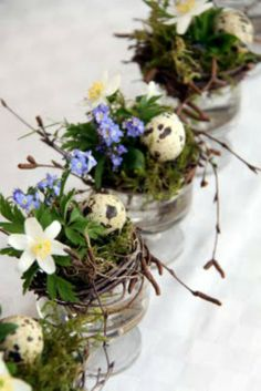 Natural Easter Centerpieces and Place Settings