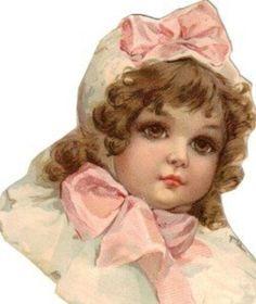 Large Victorian Cut Scrap Beautiful Little Girl in Pink (08/05/2009)