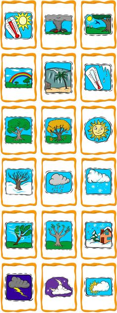 Seasons and Weather Flashcards - ESL Flashcards Spanish Teaching Resources, English Activities, Language Activities, Spanish Worksheets, French Lessons, Spanish Lessons, English Lessons, English Fun, French Classroom