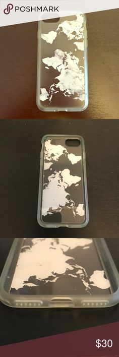 Marble Casetify case for iPhone 7 Barely used clear case for iPhone 7. Design on the back is a white marble in a world map shape. Great condition, and even reaches up over the screen for extra protection! Casetify Accessories Phone Cases