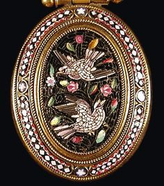 """Made of tiny glass pieces called tesserae, the miniscule shards of glass blend together to form complex and subtle scenes of great artistry. This exquisite Victorian micro mosaic pendant (c. 1860) is a perfect example of classical revival styling.""  Bale & pendant are 1 3/4"" long, 1"" wide. The pendant is 3/8"" deep.  Italian"