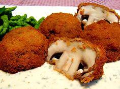 Panierte und frittierte Champignons oder anderes Gemüse - http://www.chefkoch.de/rezepte/1069651212508704/Panierte-und-frittierte-Champignons.html